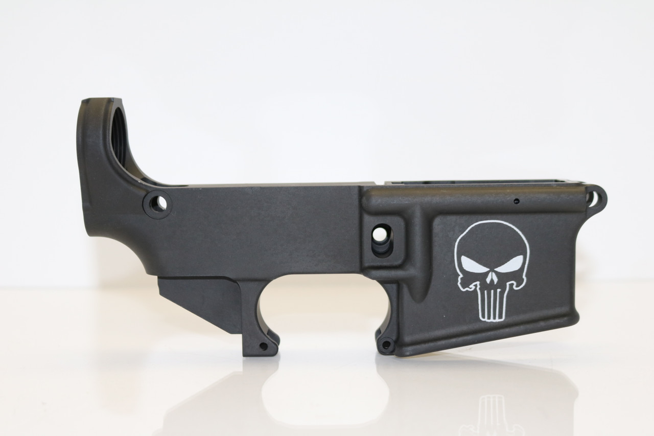 AR-15 80% Lower Receiver Anodized, Punisher