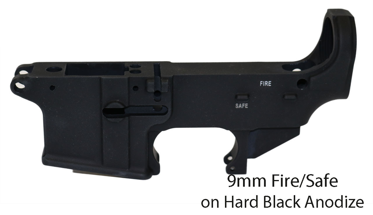 9MM 80% Lower Receiver, Hard Black Anodize,  Fire/Safe