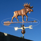 Moose Weathervane right side view on blue sky background