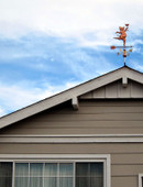 Customer Photo of Party Pig on Roof using an adjustable mount with blue sky background.