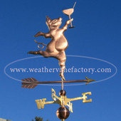 Party Pig Weathervane right front view on blue sky background.