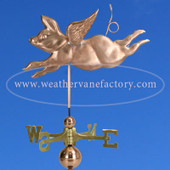 Handmade to Order Flying Pig Weathervane, made by The Weathervane Factory in Eddington Maine, a Made in Maine Weathervane, this flying pig weathervane fits all our mounting hardware and our cupolas.