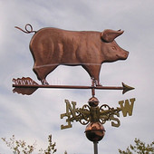 Standing Pig Weathervane right side view on stormy sky background