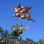 Flying Pig Weathervane Left Front View on Blue Sky Background