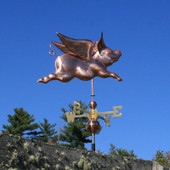 Flying Pig Weathervane Slight Right Side View on Blue Sky Background