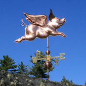 Flying Pig Weathervane Angle View on Blue Sky Background