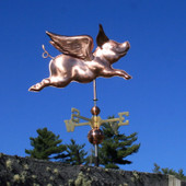 Flying Pig Weathervane Slight Right Front View on Light Blue Sky Background