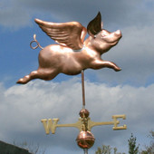 Flying Pig Weathervane Right Side View on Stormy  Background