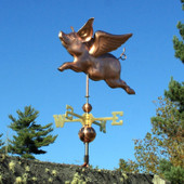 Flying Pig Weathervane Frontal Left  View on Light Blue Sky Background