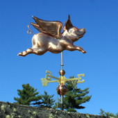 Flying Pig Weathervane Full View on Blue Sky Background