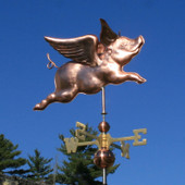 Flying Pig Weathervane Upper Right Front View on Blue Sky Background