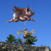 Flying Pig Weathervane Right Rear View on Light Blue Sky Background