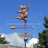 Party Pig with Wine Glass Weathervane right side view on blue and white clouds background.
