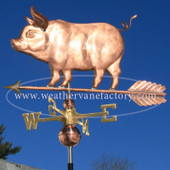 Standing Pig Weathervane left side view on blue sky background