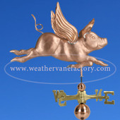Flying Pig Weathervane right side view on blue sky background