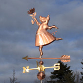 Dancing Pig with Flower and Skirt Weathervane left side view on stormy sky background