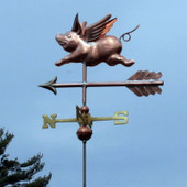 Small Flying Pig Weathervane left side view on gray-blue sky background