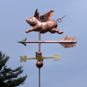 Small Flying Pig Weathervane left angle view on gray sky background