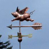 Small Flying Pig Weathervane left side view on gray sky background