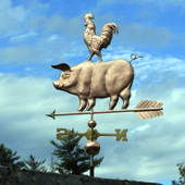 Pig and Rooster Weathervane left rear view on blue sky background