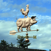 Pig and Rooster Weathervane slight right front angle view on blue sky background