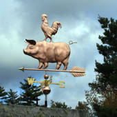 pig with rooster on its back weathervane  left front view on stormy background