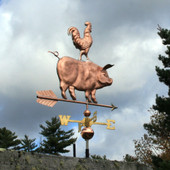 pig and rooster weathervane backward angle view image on stormy background