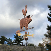 pig with rooster on its back weathervane  front view on stormy background