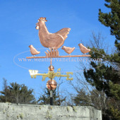Chicken with Babies Weathervane left side view on blue sky background