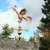 Fun Rooster Weathervane Left Front View on Blue and Cloudy Sky Background