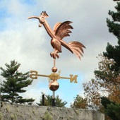 Fun Rooster Weathervane Left  Front Side View on Blue and Cloudy Sky Background