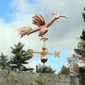 Fun Rooster Weathervane Right Side View on Blue and Cloudy Sky Background