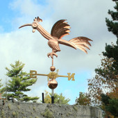 Fun Rooster Weathervane Slight Left Side View on Blue and Cloudy Sky Background