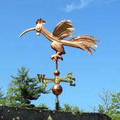 Fun Rooster Weathervane Left Side View on Blue Sky Background