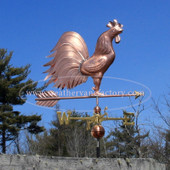 Large Triple Tail Rooster Weathervane side angle image