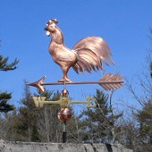 Triple Tail Rooster Weathervane side view on blue sky background image