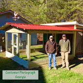 customer photo of rooster weathervane on chicken coop