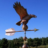 American Eagle Weathervane right front view on blue and cloudy sky background