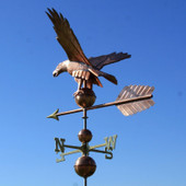 American Eagle Weathervane rear view on blue and cloudy sky background