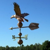 American Eagle Weathervane front left angle view on blue and cloudy sky background