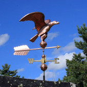 Golden Eagle Weathervane right side view on blue sky background