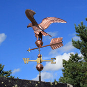 Golden Eagle Weathervane rear view on blue sky background