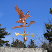 Eagle and Fish Weathervane right front view on blue sky background