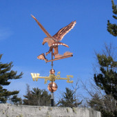Eagle and Fish Weathervane rear view on blue sky background