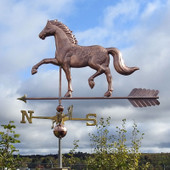 English Horse Weathervane Left Angle View on Cloudy Background
