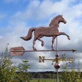 English Horse Weathervane Right Side View on Cloudy Background