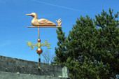 Loon Weathervane left angle side view on blue sky background