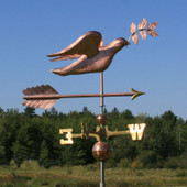 Peace Dove with Olive Branch Weathervane front right view on blue sky background