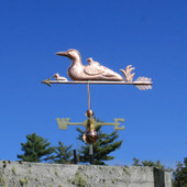 Loon and Chicks Weathervane left side angle view on blue sky background