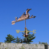 Loon and Chicks Weathervane front angle on blue sky background